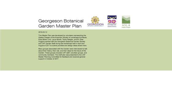 Georgeson Botanical Garden Master Plan
