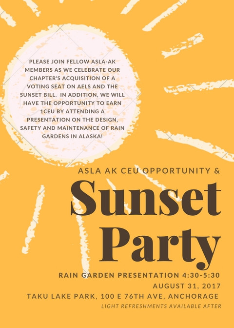 ASLA AK CEU Opportunity & Sunset Party!
