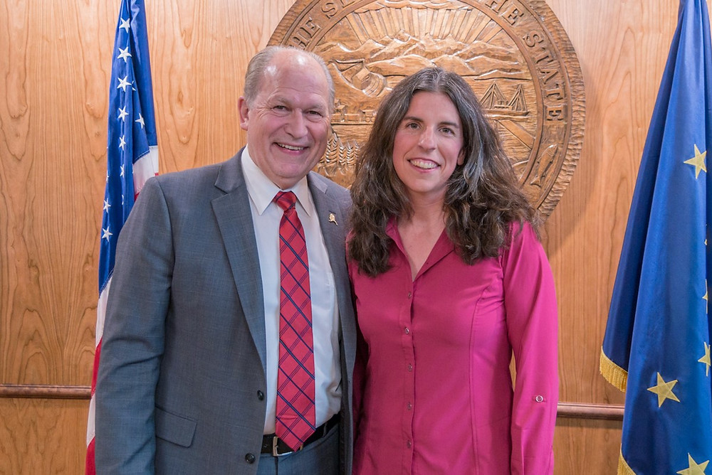 Former Governor Bill Walker and Michele Elfers, PLA in Juneau after signing the Sunset Bill in 2017, which ensured landscape architecture as a licensed profession in Alaska.