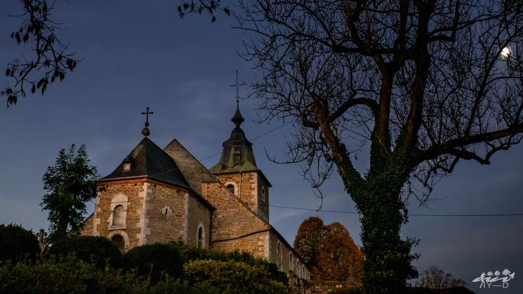 Clair de lune sur l'église Saint-Martin de Crupet