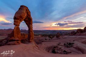 Arch national park, photographie de paysage, Delicate arch au coucher du soleil