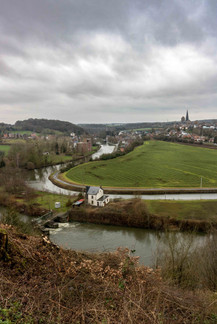 Vue sur Lobbes et la sambre, wallonie, Belgique