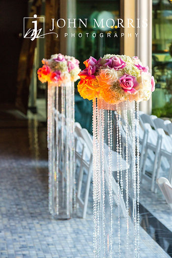 Las Vegas Nightclub ceremony with glam accents and ombre rose petal aisle