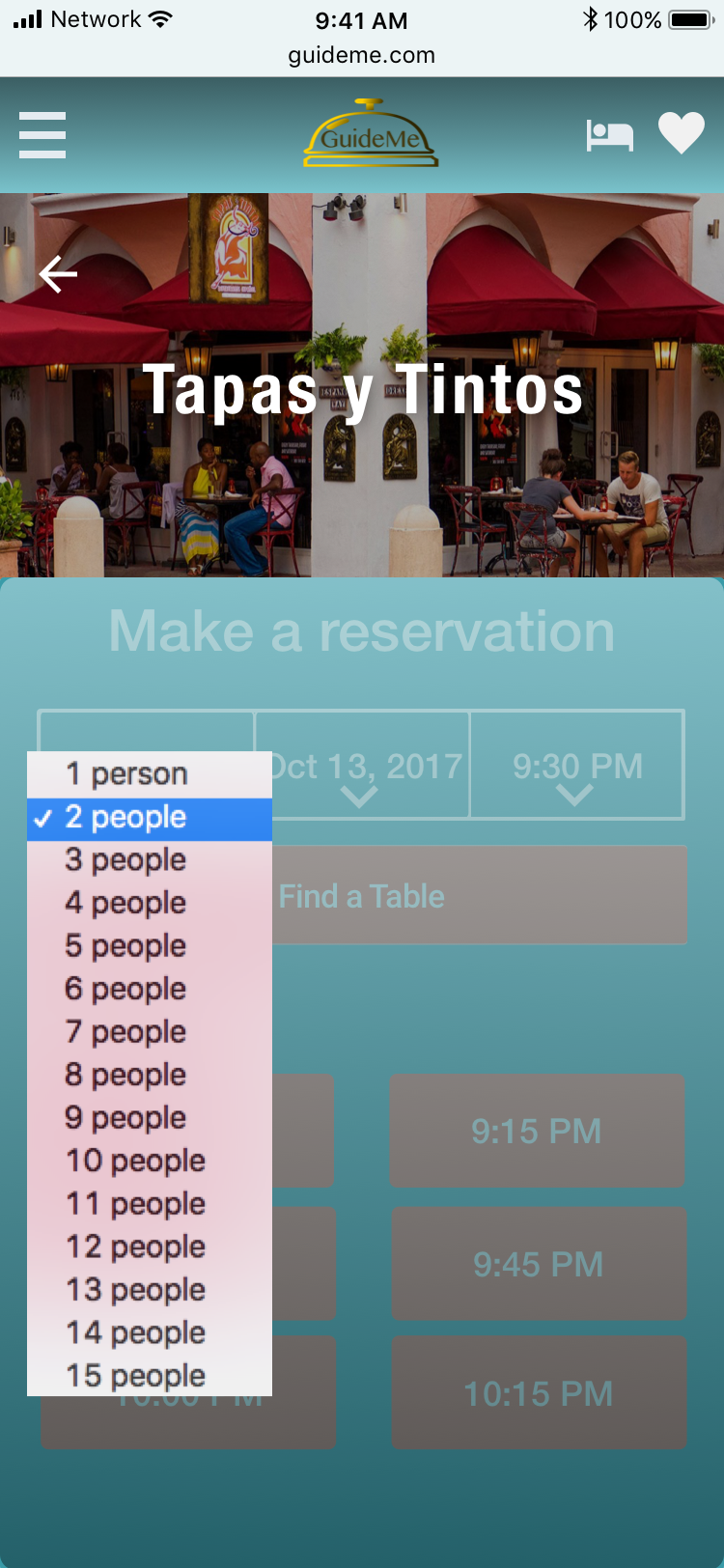 Restaurant reservation-party size