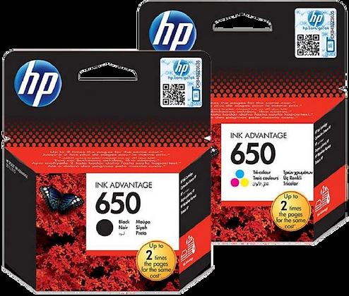 זוג דיו שחור+צבעוני מקורי HP 650