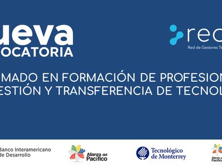 Nueva Convocatoria, Diplomado en formación de profesionales en gestión y transferencia de tecnología