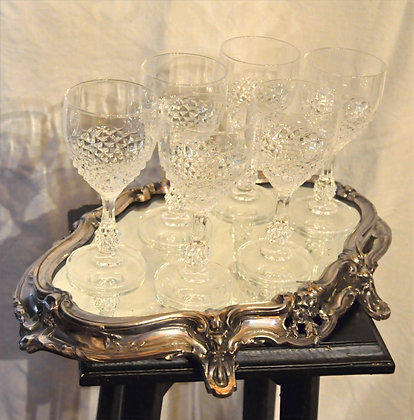 Plateau Napoléon III et ses 6 verres en cristal