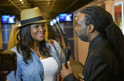 My hubby Curtis was doing TRIPLE duty! Here he's interviewing my friend Tameka Raymond