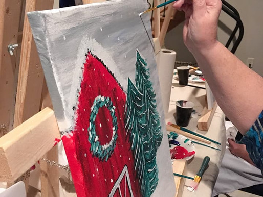 Learn to Paint - Rustic Winter Barn