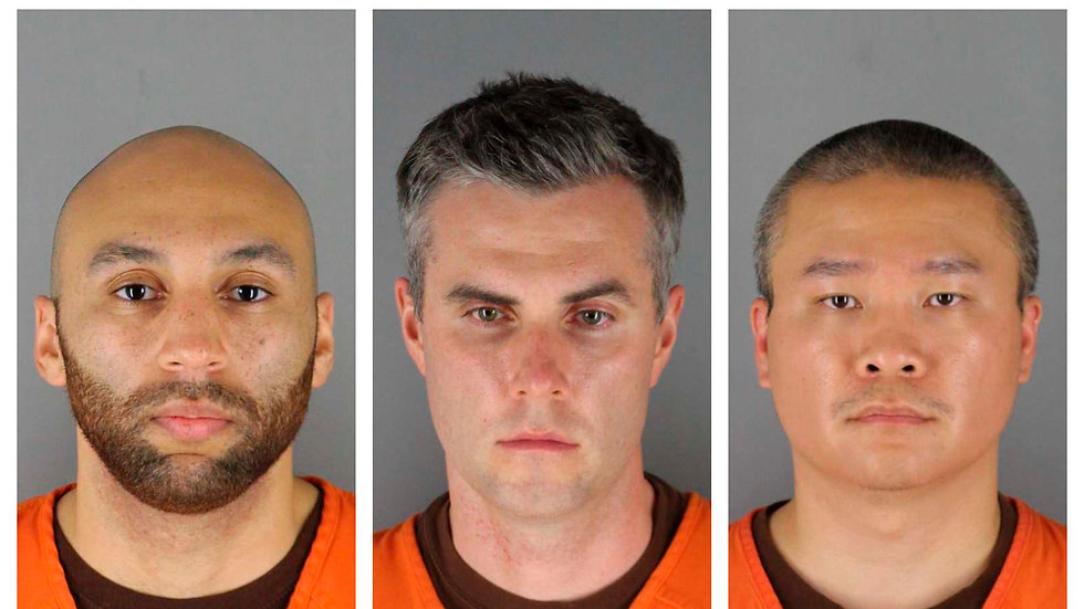 Fotos provistas por Hennepin County Sheriff's Office en Minnesota. J. Alexander Kueng (izq.), Thomas Lane (centro) y Tou Thao (der.) (Uncredited)