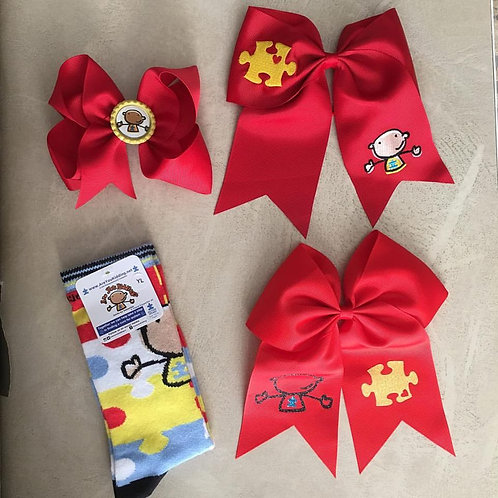 Autism Themed Ponytail Bows