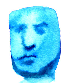 Gesicht Blau