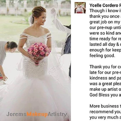 Jorems is a professional hair and makeup artist all over the Philippines. He does weddings, debuts, fashion shows, photoshoots, prenupshoots, graduations,  pageants. Contact us: 0929-2535-815
