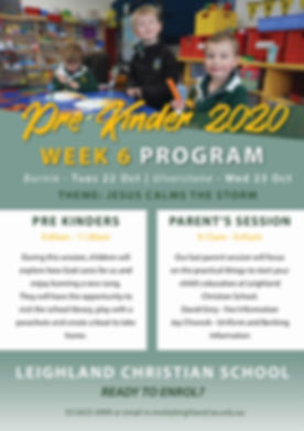 Pre Kinder Program Session Information W