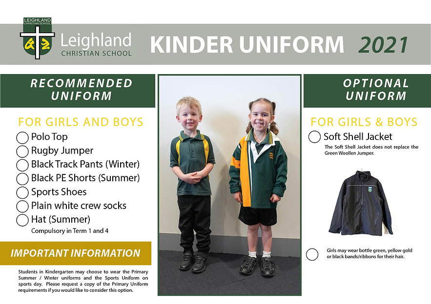 KINDER Uniform Explanation Handouts 2021
