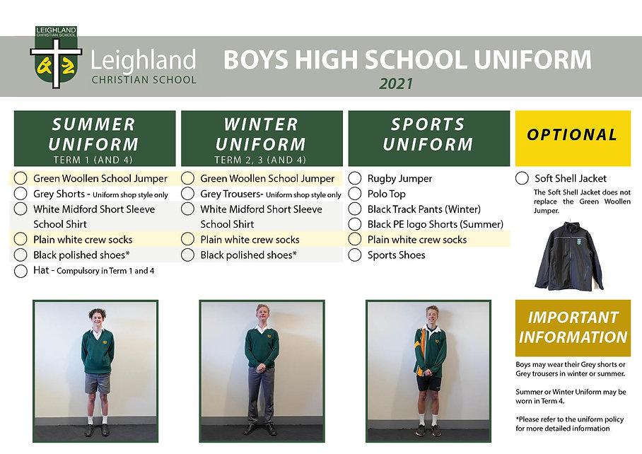 BOYS HIGHSCHOOL Uniform Explanation Hand