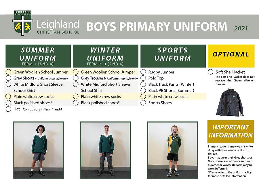 BOYS PRIMARY Uniform Explanation Handout