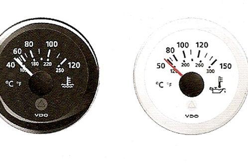 VDO lämpömittari d. 52 mm, Temperatur mätare, Temperature gauge VDO