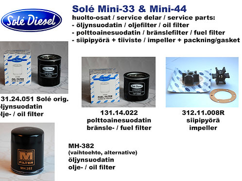 Mini-33 et Mini-44 huoltosetti, service kit Solé Diesel