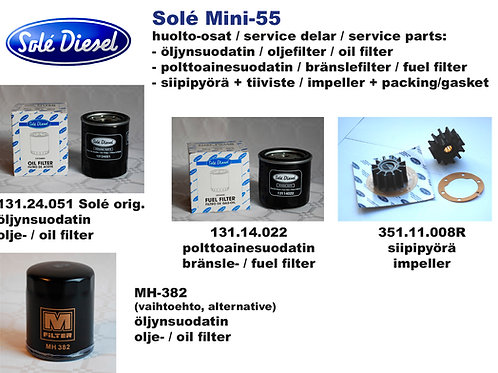 Mini-55 huoltosetti, service kit Solé Diesel Mini-55