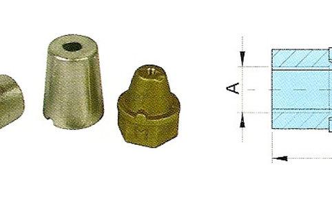 Potkurimutteri/anodi d. 35/40 mm, propellermutter+anod, anode+nut