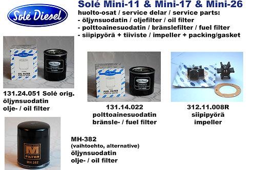Solé Mini-11, Mini-17, Mini-26 huoltosetti