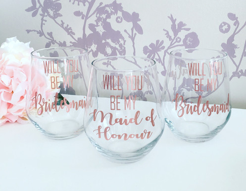 1974691bd1a Will you be my bridesmaid wine glasses. £ 7.00. What a gorgeous idea to  propose to your friend to be your bridesmaid, maid of honour etc!
