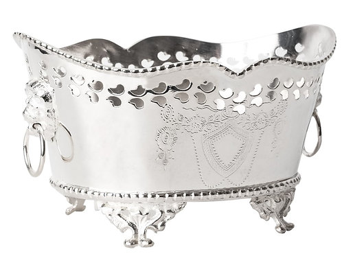 Silver Lionhead Footed Planter