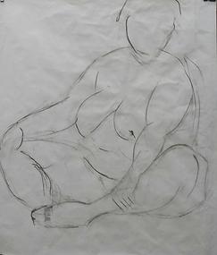 Dibujo de desnudo en carboncillo