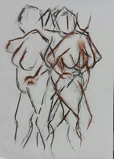 Dibujo de desnudo en carboncillo y sepia
