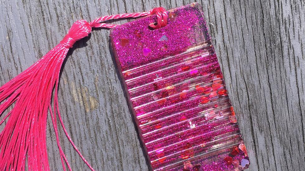 Marque pages rose paillettes