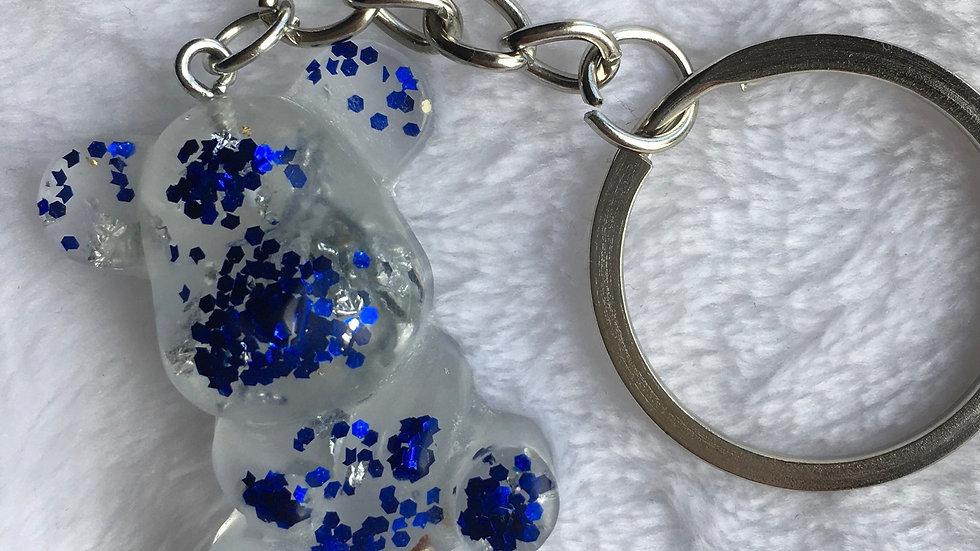 Moyen ours transparent argenté bleu