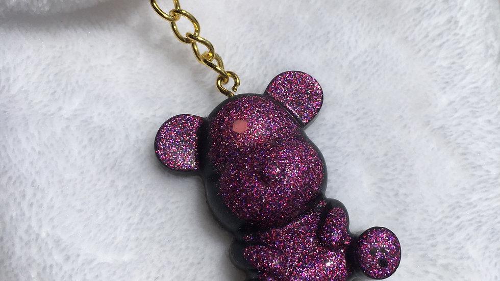 Grand ours noir paillettes violettes