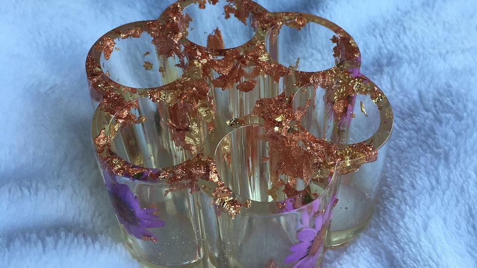 Tour de rangement cuivrée violette