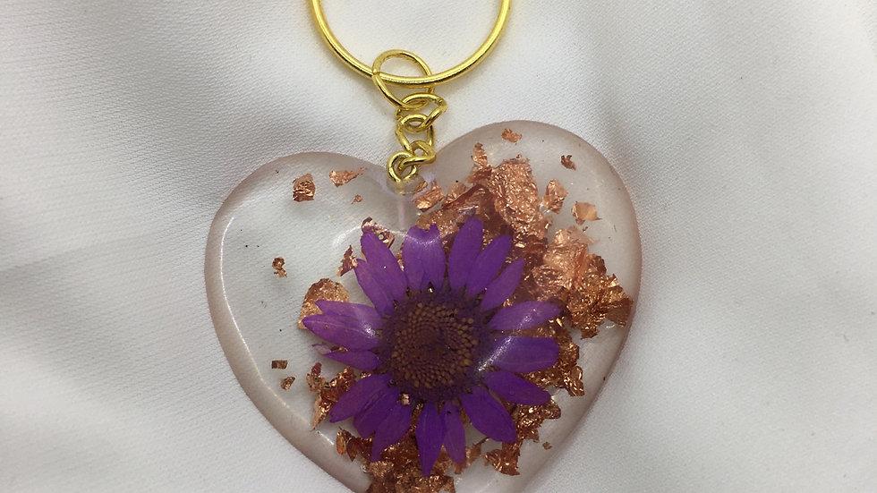 Cœur fleurs violette