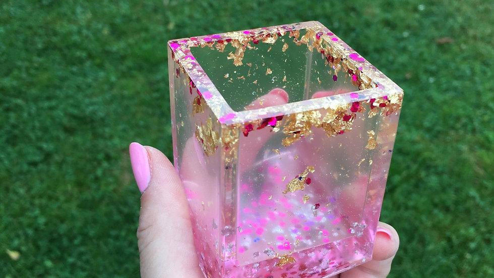Pot carré doré rose