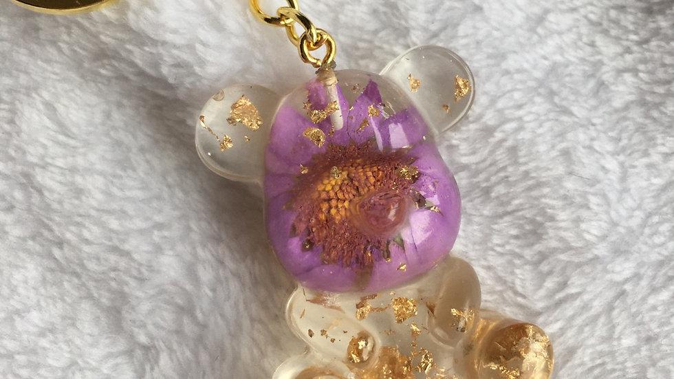 Grand ours fleurs violettes
