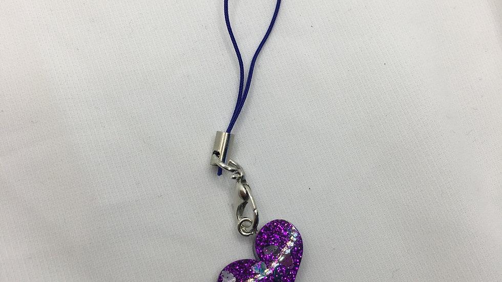 Bijoux de téléphone cœur violet
