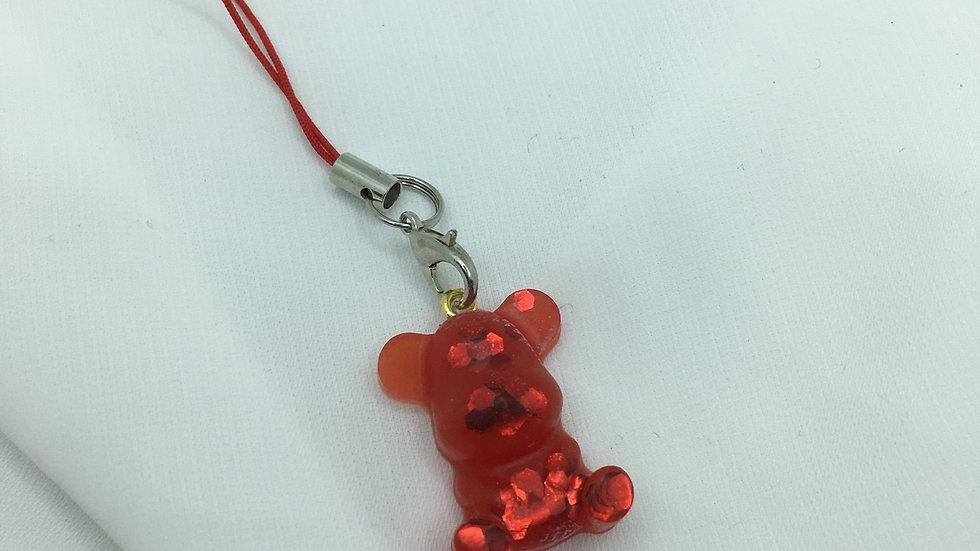 Bijoux de téléphone ourson rouge
