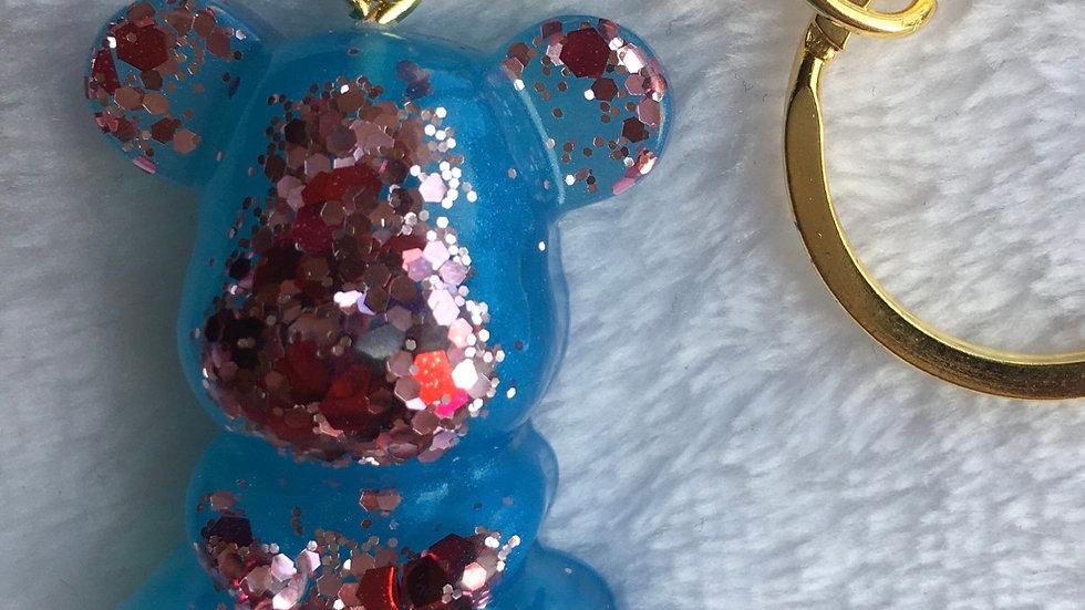 Moyen ours bleu paillettes roses