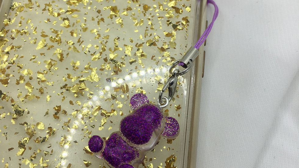 Bijoux de téléphone ourson violet