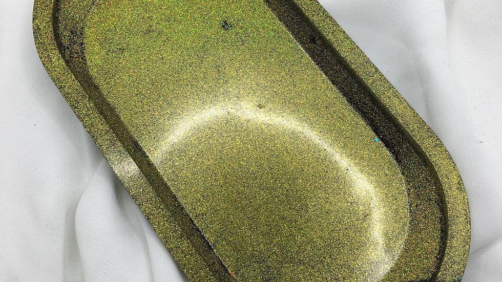 Plateau fin paillettes dorées
