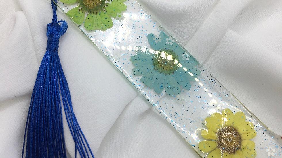 Marque pages fleurs vertes jaunes et bleues personnalisable