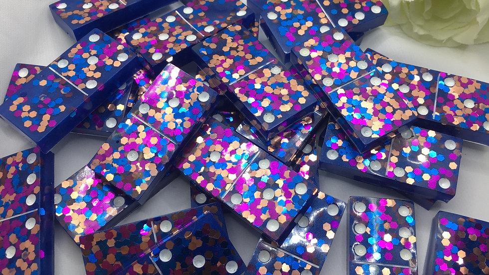Lot de 28 Domino bleu violet