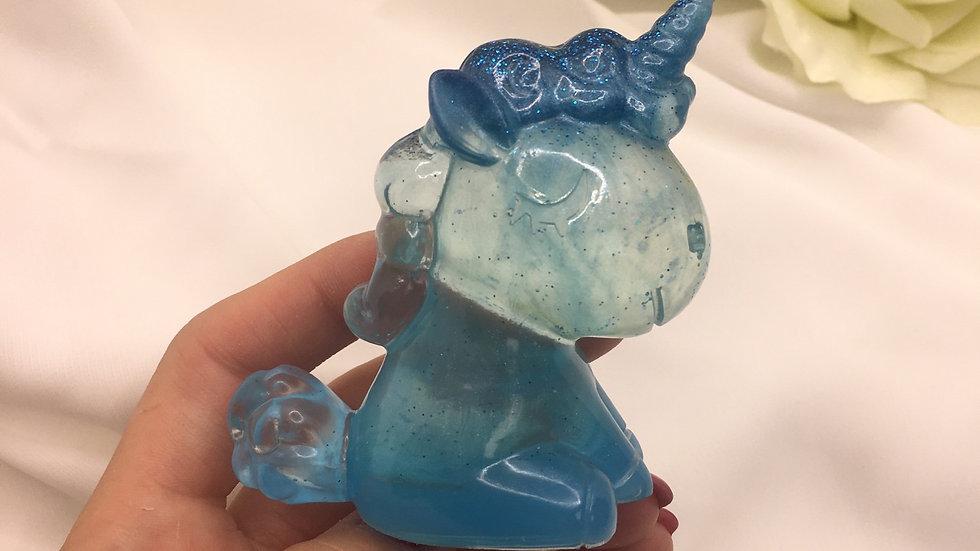 Licorne transparente bleue
