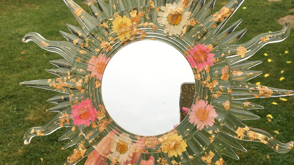 Miroir doré fleurs