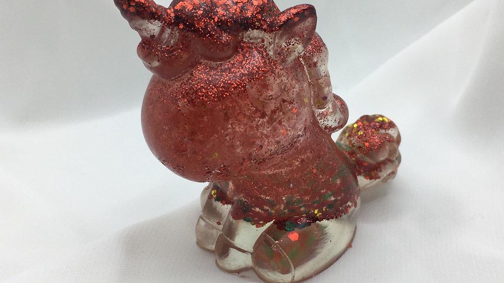Licorne rouge paillettes