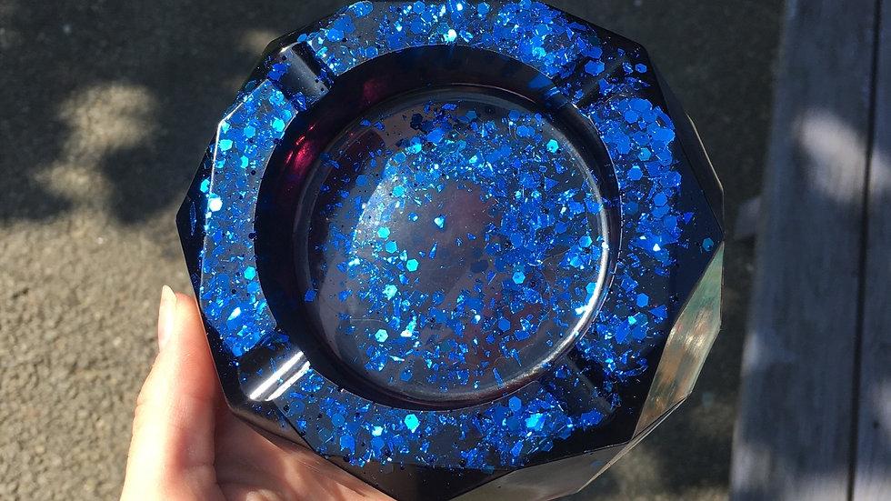 Grand cendrier noir paillettes bleues