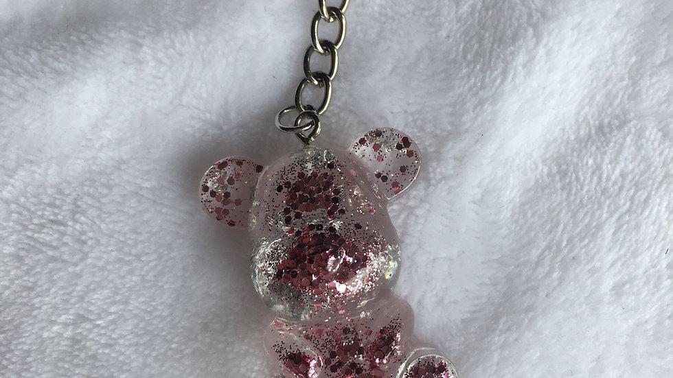 Grand ours rose argenté