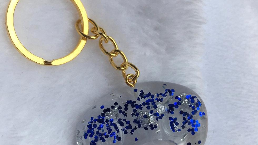 Manette transparente bleue